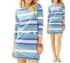 3e8ad176c3a1d7 Lilly Pulitzer Lapis Blue Tiki Stripe Lena 3/4 sleeve Shift Dress Size M New