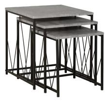 Athens Nest of Tables in Concrete Effect/Black 24HR DELIVERY