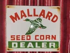 Vintage Mallard Seed Corn Porcelain Sign Dealer Pioneer Feed Farm Crop Duck