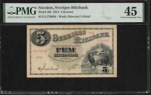 Sweden 5 Kronor 1914  PMG 45   Pick # 26i PMG Population 1/1