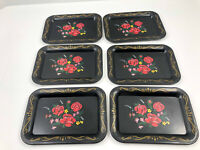Vintage Black Metal Bar Tip Trays Tin Flowers Red Flowers Roses Set of 6