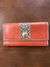 Coach Wallet Burnt Orange Leather Clutch With Checkbook