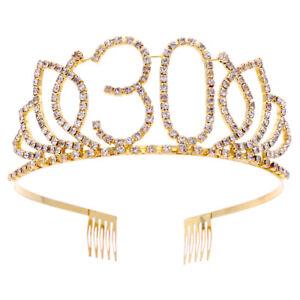 Anniversary Birthday Golden Rhinestone Tiara Crown Headband With Hair Combs Clip