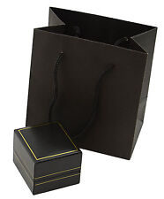 3 Luxury Leatherette Ring Boxes-Jewellery Gift Storage Rng Boxes & Gift Bag