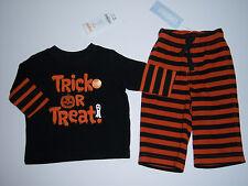 NWT Gymboree Halloween 3-6 Months Orange Black Trick or Treat Tee & Stripe Pants