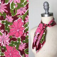 Vintage 60s Vera Neumann Pink & Purple Floral Silk Scarf