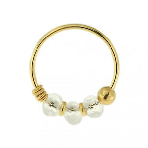 9K Carat Genuine Yellow Gold Clear Bead Nose Hoop Ring 8mm