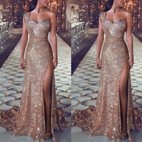 Women's Evening Gown Mermaid Party Long One Shoulder Cocktail Prom Dress Sequin