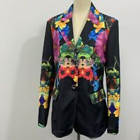 Berek Womans black floral colorful button down jacket/blazer Size Large