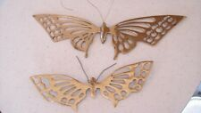 Vintage Mid Century Brass Butterfly Wall Decor Set Lot of 2 Butterflies