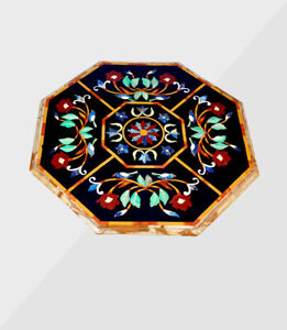 "30"" Marble Coffee Center Table Top Inlay Semi Precious Stone Home Decor"