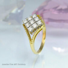 Anello in 750/- gelgold con 9 diamanti circa 0,45 CT. maggiore pietra 0,05 CT. W/vvsi