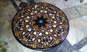 4' black marble table top coffee dining inlay lapis mosaic handmade fancy  item
