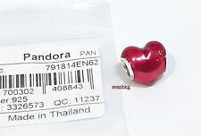 Pandora Heart Beat Charm, LOVE RED Enamel Authentic NEW 791814EN62