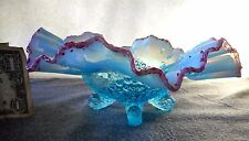JEFFERSON GLASS BLUE OPALESCENT FANCY FANTAILS FOOTED BOWL W/ CRANBERRY FRIT