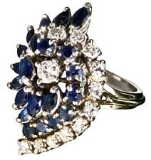 14K White Gold Diamond Marquise Blue Sapphire Half-Moon Spray Cocktail Ring