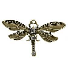 5 Bronze Tone Rhinestone Dragonfly Charm Pendants H2C7