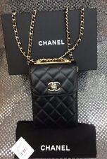 CHANEL Cambon Black Lamb Skin Leather Messenger Crossbody Bag