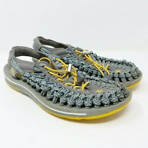 Keen Uneek Flat Cord Sport Sandals Blue Yellow Adjustable Stretch Men's Size 9