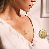 Women Gold Alloy Rose Flower Round Coin Pendant Long Chain Necklace Jewelry Gift
