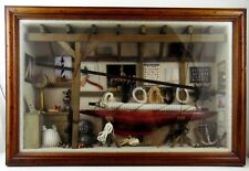 "Sail Boat Model: One of a kind (4"" in Wall Framed Garage Scene Display) Nice"