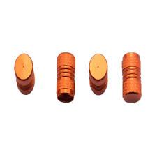 Lot 4 bouchons de valve en aluminium uni rayures orange - Auto,Moto,Vélo scooter