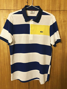 LACOSTE Polo Shirt Cotton Multicolour Striped MENS Size 4 Excellent Condition
