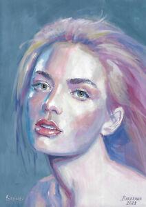 original painting A4 151PK art samovar acrylic Modern female portrait 2021