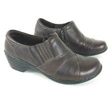 CLARKS Womens 8.5W Comfort Heels Leather Brown Slip On