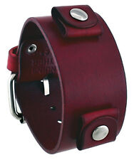 Nemesis GB-R Women's Blood Red Junior Wide Leather Cuff Wrist Watch Band