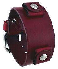 Nemesis GB-R Women's Blood Red Junior Wide Leather Cuff Wrist Watch Band