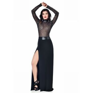 Les Ptites Folies Catanzaro - Sapphire - Long Skirt Sexy Slotted IN Lycra Black