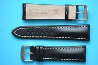 extra starkes Uhrenarmband 24/20mm schwarz  für Breitling mit heller Naht