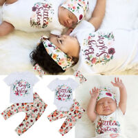 Matching Outfits Big Sister Tee T-shirt Little Sister Floral Romper Jumpsuit