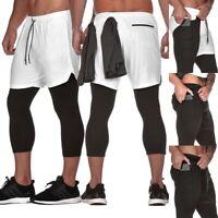 PD: Herren Shorts Sport Shorts Kurz Hose Gym Fitnesshose 2 in 1 Trainingshose