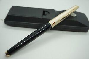 14k.Gold NIB Pilot Japan Fountain Pen Advertising Beige Chrome Black Filler NEW!
