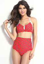 Ladies Vintage Red Polka Dot High Waisted Swimsuit Swimwear Bikini Size 10 12
