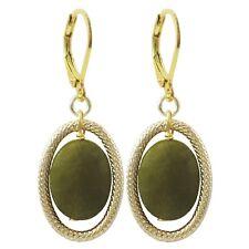 Gold Finish Green Semi-precious Gemstone Oval Dangling Earring