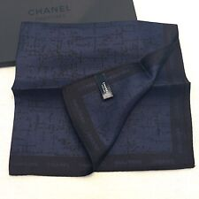CHANEL Parfums Bleu Silk Handkerchief Pocket Square Scarf NEW VIP Gift 33x33cm