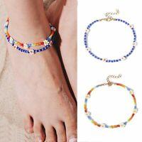 2pcs Summer Daisy Flower Coloful Seed Beads Anklet Bracelet Beach Women Jewelry
