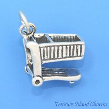 GROCERY STORE SHOPPING CART 3D .925 Solid Sterling Silver Charm MADE IN USA