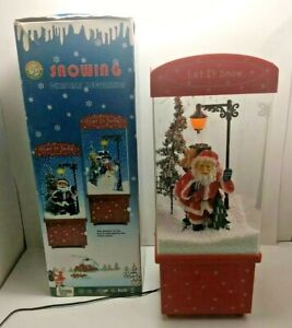 "Lighted Snowing Musical Christmas Carols 16"" Santa Decoration w/ Cord - Tested!"