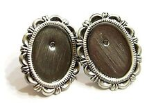 3 Pairs 18x13 mm Antique Silver Plated Victorian Earrings Scallop Loops Settings