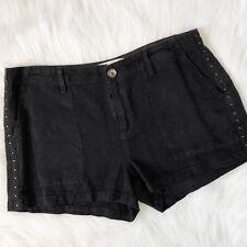 New Joie Women's Shorts Wilama Studded Black Soft Linen Lyocell Size 10 NWT $178