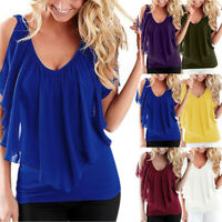 Summer Women Casual Chiffon Short Sleeve Shirt Loose Tops Blouse Off Shoulder UK