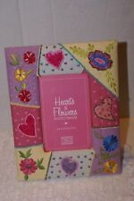 """Hearts And FLOWERS Picture Frame TWO'S COMPANY 4""""X6"""" PICTURE EMBROIDERED BEADED"""