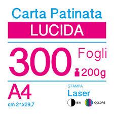 CARTA PATINATA LUCIDA A4 (cm 21x29,7) 200g PER STAMPANTI LASER - 300 FOGLI