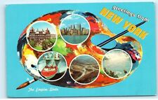 Greetings from New York Artist Paint Pallet NY New York old Vintage Postcard A99
