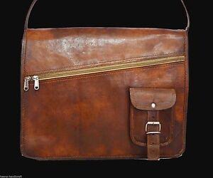 New Vintage Men's Genuine Brown Leather Messenger Shoulder Laptop Bag Briefcase
