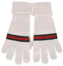GUCCI White Wool With Green Red Stripe Tricot Gloves 294732 NWT